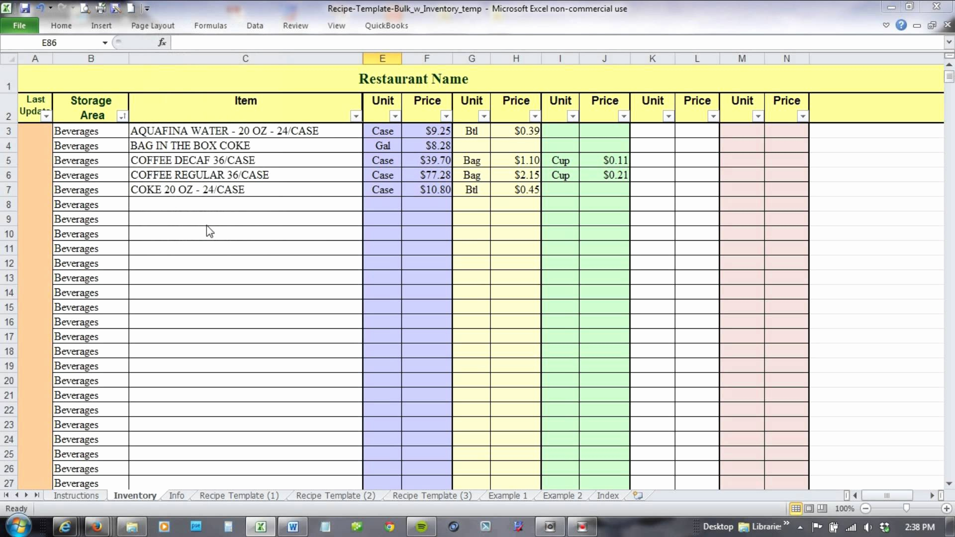 How to Maintain Accounts In Excel Sheet format Best Of Using Excel for Recipe Costing and Inventory Linking